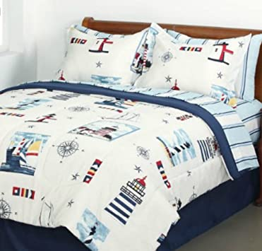 Spectacular Lighthouse Sailboat Nautical Queen Comforter Set Piece Bed In A Bag
