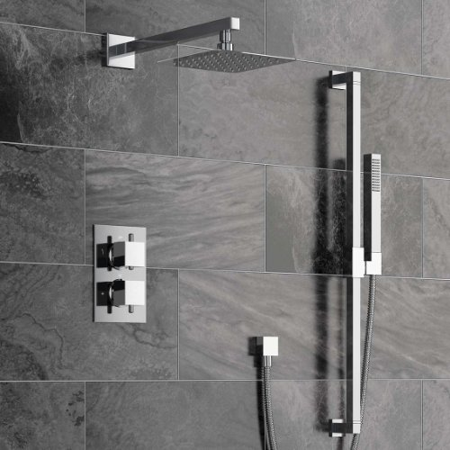 Concealed Bathroom Thermostatic Mixer Shower Set with Handheld & Riser Rail SS2027
