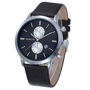 Dreaman 1PC Fashion Men Casual Waterproof Date Leather Watch Black