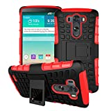 Queens® Case Cover For LG G3 III Dual Armor Layer Heavy Duty Ultra Rugged Hybrid Composite Hard Gel Case with Kick-Stand for LG G3 III With Clear Screen protect (A-Red)