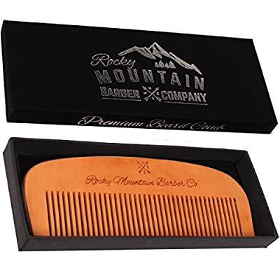 Hair Comb - Wood with Anti-Static & No Snag Handmade Brush for Beard, Head Hair, Mustache with High Quality Design in Gift Box by Rocky Mountain