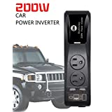 Power Inverter BMK TM 200W Car Power Converter Cigarette Lighter Adapter with 2 AC Outlets Plug and 4.8A Dual USB Ports Car Charger