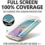 S6 Edge Screen Protector 100% Full Coverage 3D Curved FULLY INVISIBLE S6 EDGE SCREEN PROTECTOR Premium TPU Gel Anti Shock Screen Protector for Samsung Galaxy S6 Edge Front