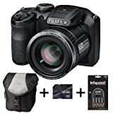 Fujifilm FinePix S4800 - Black + Case + 8GB Memory + 4 AA Batteries and Charger (16 MP, 30x Optical Zoom) 3.0 inch LCD