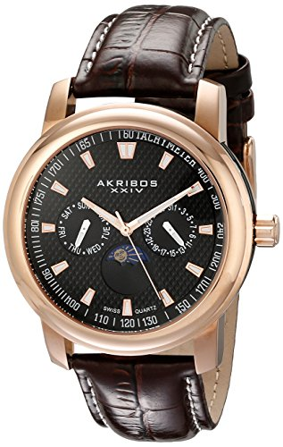 Akribos-XXIV-Mens-AK573RG-Ultimate-Swiss-Quartz-Multifunction-Black-Dial-Rose-tone-Stainless-Steel-Brown-Leather-Strap-Watch
