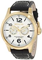 Invicta Men's 12172 Specialty Military Silver Dial Black Leather Watch by Invicta