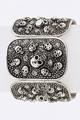 Tiffany & Zara Skull Crystal Stretch Bracelet by Karmas Canvas