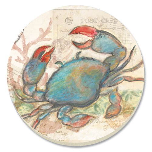 CounterArt Seaside Garden/Blue Crab Absorbent Coasters, Set of 4