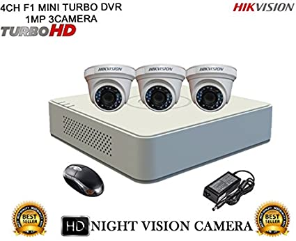 Hikvision-DS-7104HGHI-F1-Mini-4CH-Dvr,-3(DS-2CE56COT-IRP)-Dome-Cameras-(with-Mouse)
