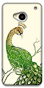 The Racoon Grip Peacock White hard plastic printed back case / cover for HTC One (M7)