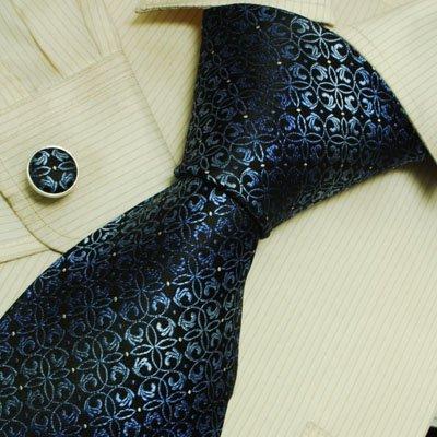 Blue Pattern Mens Ties Lot Midnightblue Florals Boyfriend's Gift Handmade Silk Tie Cuff Links Set 6609
