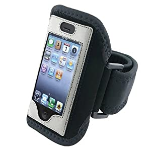 Silver Sport Gym Armband Cover Case Compatible With iPhone 4 4G 4th iPhone 4S &#8211; AT&amp;T, Sprint, Version 16GB 32GB 64GB