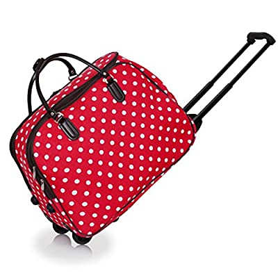 Ladies Travel Holdall Bags Hand Luggage Womens Polka Dot Weekend Wheeled Trolley Handbag from TrendStar