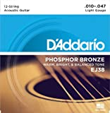 D'Addario EJ38 12-String Phosphor Bronze Acoustic Guitar Strings, Light, 10-47