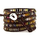 Chan Luu Women's Leather Multi Stone Signature Wrap Bracelet (Brown Leather)