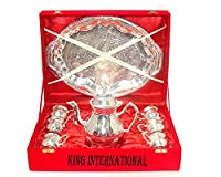 King International Diwali Gifting, Corporate Gifting Brass Diwali Gifting, Corporate Gifting Silver Kettle,6 Mugs & 1 Tray With Velvet Box, Set Of 8 Pieces