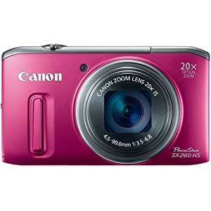 Canon PowerShot SX260 HS 12.1 MP CMOS Digital Camera with 20x Image Stabilized Zoom 25mm Wide-Angle Optical Lens and 1080p HD Video (Red)