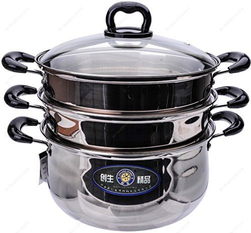 M.V. Trading S7326B Stainless Steel 3 Tiers Steamer Pot Steaming Cookware, 26cm, (10¼-Inches)