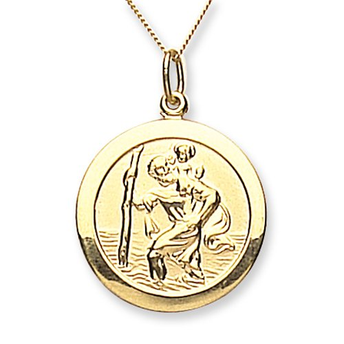 Chic 9ct Yellow Gold Small Plain St.Christopher with 46cm Chain
