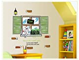 Sumlake Nursery Pet Cats Sweet Home Green Plants Fake Windows Wall Art Stickers Decal for Home Room Decor Decoration