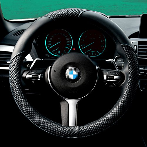 2016 New Arrival Steering Wheel Cover-Black And Blue, Odorless, 1.5lb, Microfiber Leather Fits 15