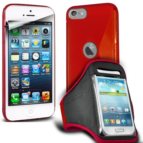 Fone-Case Apple Ipod Touch 5, 5Th Generation Protective Hydro S Line Wave Gel Silicone Skin Case Cover With Jogging Sports Armband & (10 Pack) Lcd Screen Protector Guards (Red)