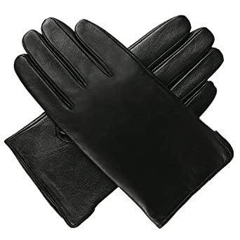 Luxury Lane Men's Classic Cashmere Lined Lambskin Leather Gloves - Black M