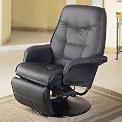 Two Black Leatherette Modern Recliners
