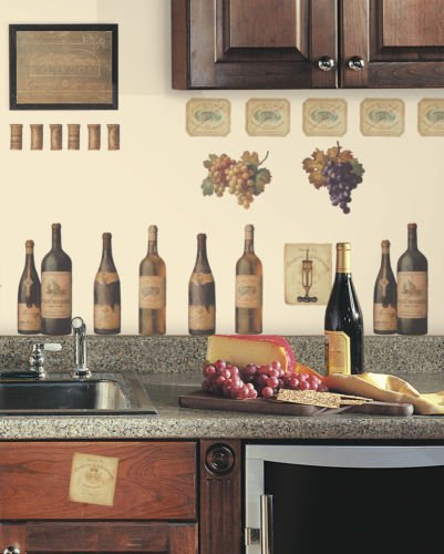 New WINE TASTING WALL DECALS Grapes & Bottles Stickers Kitchen Decor Decorations (Grape Kitchen Wall Stickers compare prices)