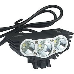 ALED LIGHT® Solarstorm 6600Lm del faro del Cree x3 bicicleta de la bici llevó la linterna Linterna Negro Con 4x18650 batería 6400mAh (3 * T6, Negro)