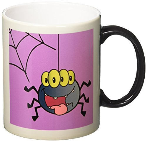 3drose Cute Happy Spider and Web on Purple for Halloween Spider Lover, Magic Transforming Mug, (Cute Halloween Pic)