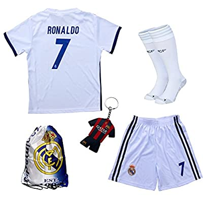 2016/2017 Real Madrid Cristiano Ronaldo #7 Home Football Soccer Kids Jersey & Short & Sock & Soccer Bag Youth Sizes
