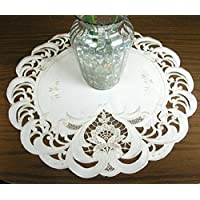 Embroidered Cream Lace Doily 16 Inch Diameter Round Doilie, Machine Washable Polyester