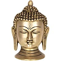 Aone India Brass Buddha / Buddhist GODS / Gautama Buddha Head Idol S (4 X 2.5 X 5 Inche) + Cash Envelope (Pack...