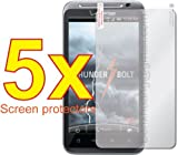 5x HTC ThunderBolt 4G Droid Incredible HD ADR6400 6400 Premium Clear LCD Screen Protector Cover Guard Shield Flim Kit