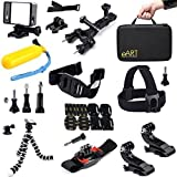 Accessories Kit For Gopro Hero 4 3 3+ Black/Silver - Bicycle Handlebar/Seatpost Clamp With Three-way Adjustable...
