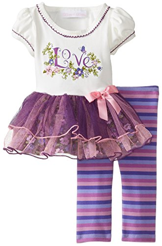 Bonnie Baby Baby-Girls Newborn Love Applique Tutu Legging Set, Purple, 6-9 Months front-106758