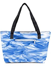 Pack Of 2 White And Blue Smoke 2430 Combo Tote Shopping Grocery Bag With Coin Pencil Purse