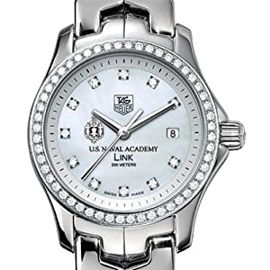 US Naval Academy TAG Heuer Watch - Women's Link Watch with Diamond Bezel