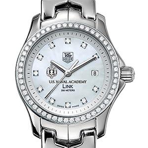 US Naval Academy TAG Heuer Watch - Women's Link Watch with Diamond Bezel