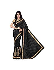 Firstloot Black Satin Jaquard And Satin Embroidered Saree
