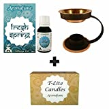 Aromafume Fresh Spring diffuser oil (15ml) + 12 T-Lite candles & Brass oil burner