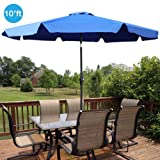 GotHobby 10ft Outdoor Patio Umbrella Aluminum w/ Tilt Crank Valance - Blue