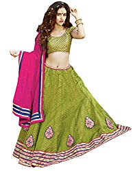 DesiButik's Wedding Wear Lovely Green Net Lehenga