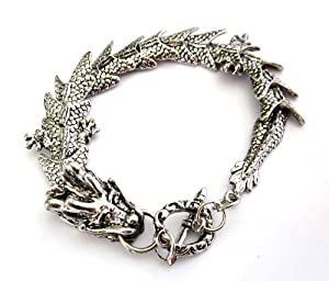 Silver-tone Alloy Metal Dragon Bracelet
