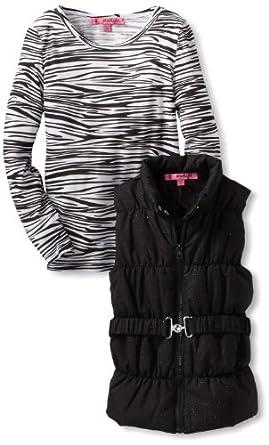 Energie Big Girls' Charlotte Glitter Puffer Vest Set, Black, Large
