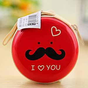 Generic Tin Cool Mustache Pouch For Earphone Pouch Case Coins Pouch,Memory Card Pendrive Pouch Bag Case Pouch Wallet Red