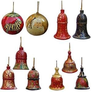 Handmade Papier Mache Christmas Decorative Bells and Balls (Set of 10)