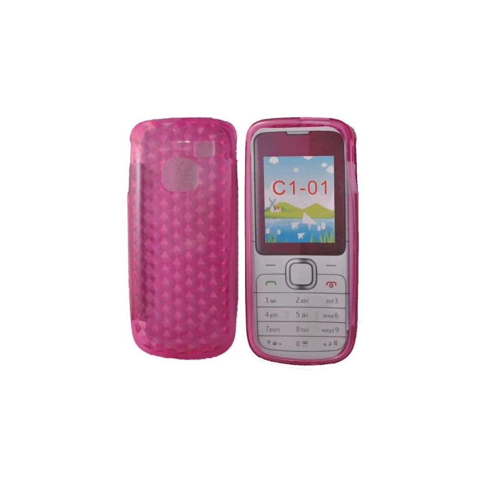 Mobile Palace  Pink Gel case cover pouch holster with screen protector for Nokia C1 01