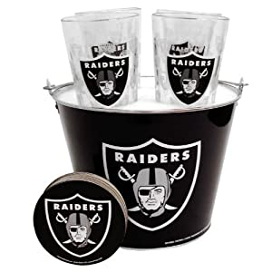 Oakland Raiders Pint Glasses and Beer Bucket Set | Oakland Raiders Gift Set